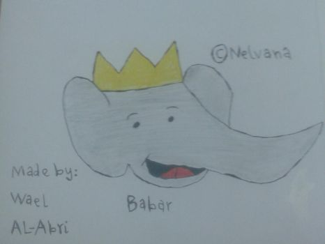 A drawing for Babar The King Of Elephants by Wael-sa