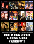 Sci-Fi TV Show Couples and Gundam Counterparts by BlueWolfRanger95