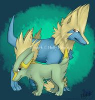 Electrike and Manectric by CunningFox
