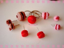 macaron ring and earring sets by Hanachi-bj