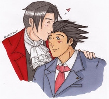 Phoenix x Edgeworth - For StupidGenious by cookiepianos