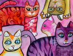 Colorful Cats 7 by jenthestrawberry