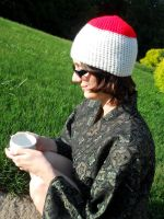 Hetalia Japan inspired crocheted hat by YarnAlchemy