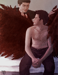 Grooming Wings - Dean and Castiel for Cherie by ohmiya-ai