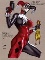 Harley Quinn and her rubber chicken by daikkenaurora