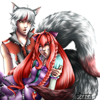 [COMMISSION]: Jun and Rakku by KailiStark