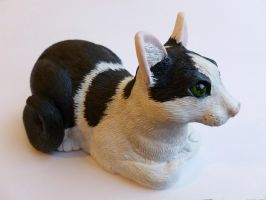 Black and White cat sculpture by philosophyfox