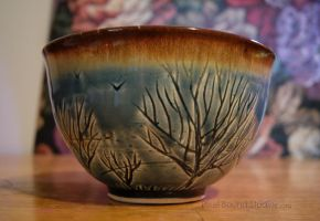 Blue Tree Themed Ceramic Bowl by ashynekosan