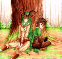 Gogoat and Skiddo - Gijinka by RoCkBaT