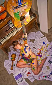 Mixed Media Nude-Music 01 by pHotOPuNK82