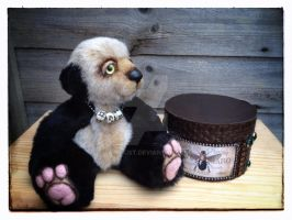 Ooak baby bear with altered art ooak trinket box. by Fairykist