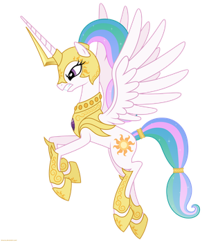 Celestia in armor 2 - PNG by Larsurus