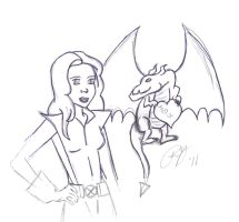 Kitty Pryde and Lockheed by supermutts