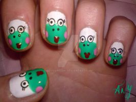 Pretty Frog Nail Design by AnyRainbow