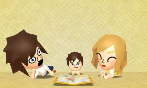Tomodachi Life - Reading to Ben by Megalomaniacaly