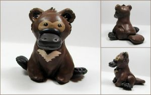 Baby Platypus Bear Sculpture by LeiliaClay