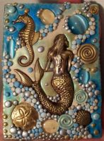 ACEO Mermaid polymer clay by MandarinMoon