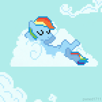 Rainbow on a Cloud - Pixel Version by pwned1711