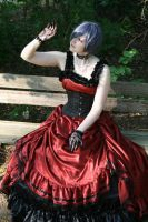 Black-red dress silver wig 1 by Sayashi-Stock