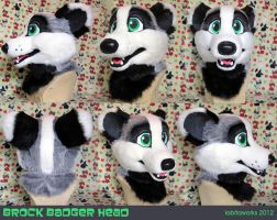 Brock Badger Fursuit Head by LobitaWorks