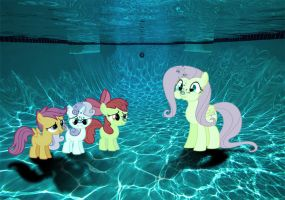 Fluttershy and CMC's Breath-hold Underwater by SB1991