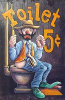 Toilet Clown on Wood Panel by Gallery-of-Art