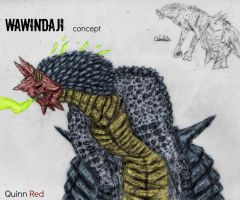 Kaiju Concept: Wawindaji (color) by Quinn-Red