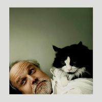 portrait of father with feline by goodbyejulia