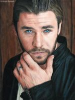 Chris Hemsworth (colour pencils) by Quelchii