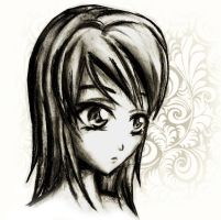 charcoal anime drawing by Lizalot