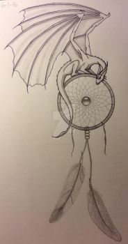 Dragon on a dreamcatcher by LadyCelticRose