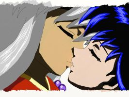 Inuyasha And Kagome Kiss by 0han-nah0