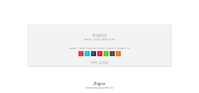 mono : minimal social media icons by bharathp666