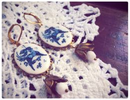 Blue Bird Vintage Earrings by GingerKellyStudio