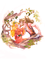 ELFQUEST joyleaf and bearclaw by DawnElaineDarkwood