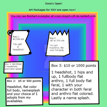 Package Sheet - Open until Ma 31st! by OonaWingedWolf