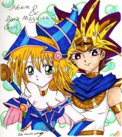 Atem and Dark Magician Girl by littlemissanime
