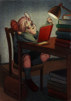 Little Book Worm by Amaryllex
