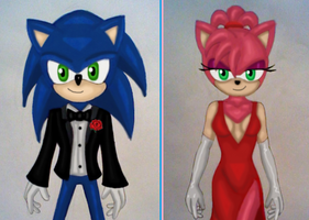 SonAmy high school prom by GothNebula
