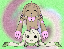 Terriermon and Lopmon by Veni-Mortem