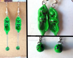 Pea-pods and Falling Peas Earrings (Design 1) by KittyAzura