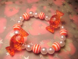 strawberry candy bracelet by leggsXisXawsome