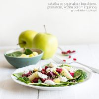 spinach, beet, pomegranate, apple and goat cheese by Pokakulka
