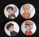 SP Buttons - Pip, Mole, Gregory, Damien by Salmagundi-Sweet