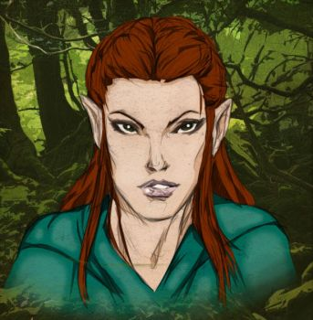 Colours on K R Thompson's Tauriel sketch by hellbat