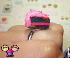 Scented Strawberry Rainbow Marbled Cake Slice Ring by pinknikki
