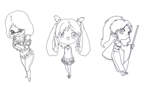 Free commission: Chibi lineart batch by HonG-t
