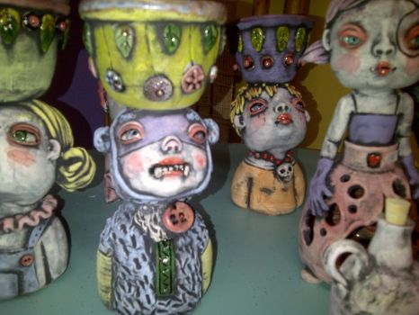 group of sculpture freash from the kiln by KathleenRaven71