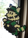 Raccoon suit Luigi perler by mrzeebub
