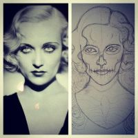 Carole Lombard painting WIP by MonteyRoo